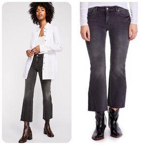 NWT Free People Black Raw Hem Rita Flare Jeans 24